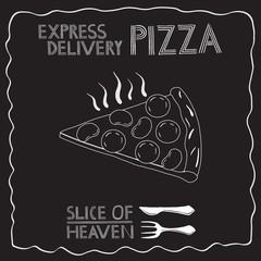 Pizza illustration, chalkboard style