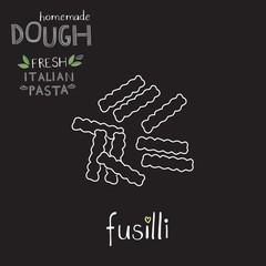 Fusilli, vector pasta illustration