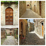 medieval  tuscan village collage, Montefioralle,Greve in Chianti