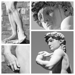 collage with images of David sculpture by Michelangelo, Florence
