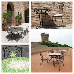 garden furniture collage