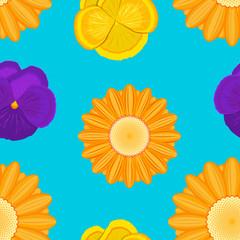 orange gerbera and violet flowers seamless blue pattern