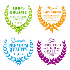 set of vector color wreath labels