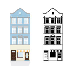Old Town House with Shop Vector Illustration