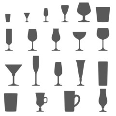 monochrome alcohol glasses vector silhouette set