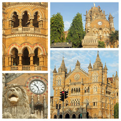 collage made of Chhatrapati Shivaji Terminus images, Mumbai