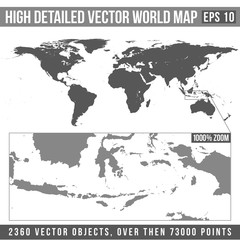 vector high detailed grey world map