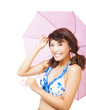 smiling young woman holding a umbrella.
