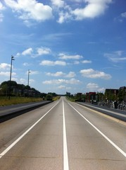 Long road and blue sky