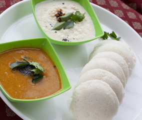 Idly served with sambar