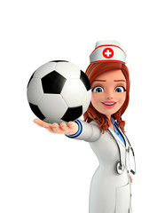 Nurse Character with football