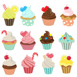 Fototapety cupcake icon set 1