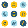 Fruits web icons, blue and yellow circle buttons