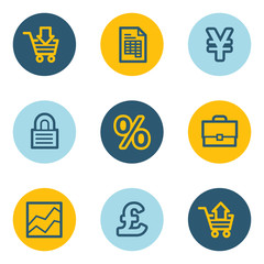 E-business web icons, blue and yellow circle buttons