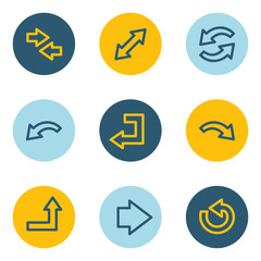 Arrows web icon set 1, blue and yellow circle buttons