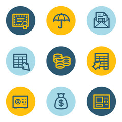 Banking web icons, blue and yellow circle buttons