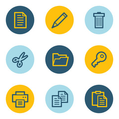 Document web icon set 1, blue and yellow circle buttons