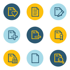 Document web icon set 2, blue and yellow circle buttons