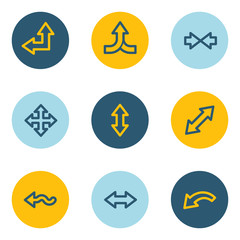 Arrows web icon set 2, blue and yellow circle buttons