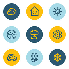Ecology web icon set 2, blue and yellow circle buttons