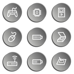 Electronics web icon set 2, grey stickers set
