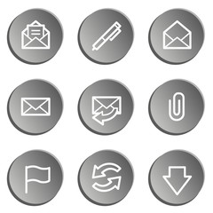 E-mail web icons, grey stickers set