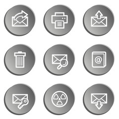 E-mail web icon set 2, grey stickers set