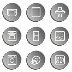 Home appliances web icons, grey  stickers set