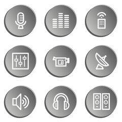 Media web icons , grey  stickers set