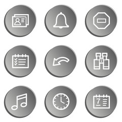 Organizer web icons , grey stickers set