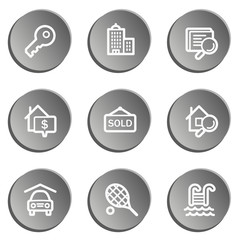Real estate web icons , grey stickers set