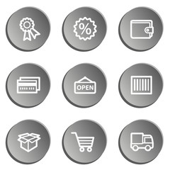 Shopping web icon set 2 , grey stickers set