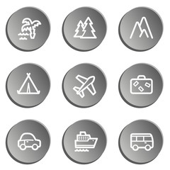 Travel  web icon set 1,  grey stickers set