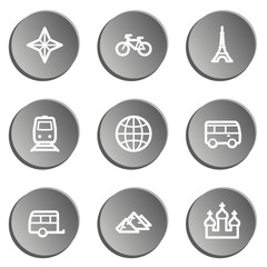 Travel  web icon set 2,  grey stickers set