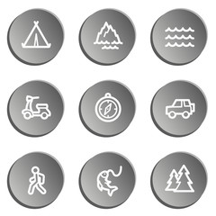Travel  web icon set 3,  grey stickers set