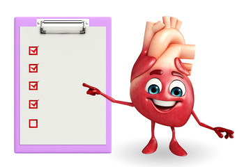 Heart character with notepad