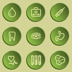 Medicine  web icon set 1, green paper stickers set