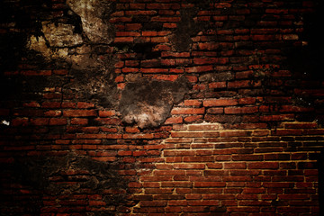 brick grunge texture, wall background, vignette