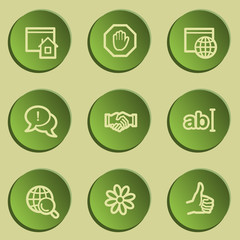 Internet  web icon set 1, green paper stickers set