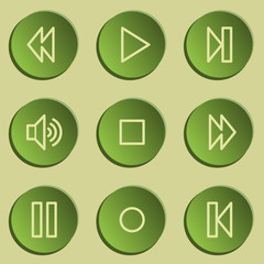 Media player web icons , green paper stickers set