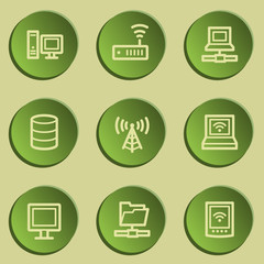 Network web icons , green paper stickers set