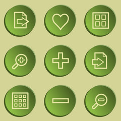 Image viewer web icon set 1, green paper stickers set