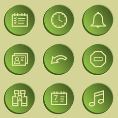 Organizer web icons , green paper stickers set