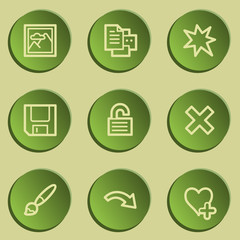 Image viewer web icon set 2, green paper stickers set