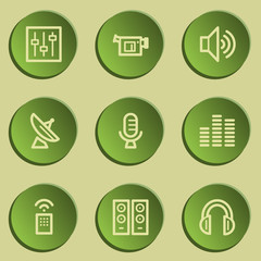 Media web icons , green paper stickers set