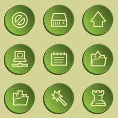 Data web icons, green paper stickers set