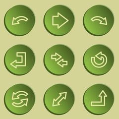 Arrows web icon set 1 , green paper stickers set
