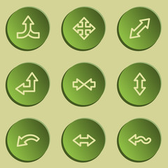 Arrows web icon set 2 , green paper stickers set