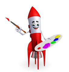 Rocket character with color plate