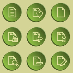 Document web icon set 2 , green paper stickers set